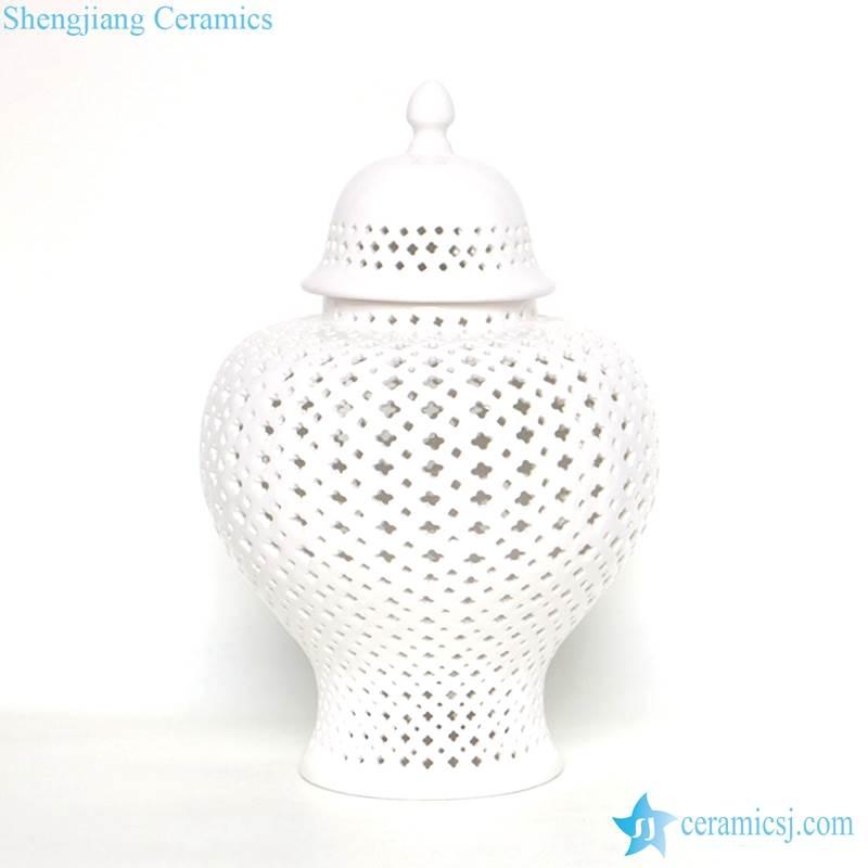 white holes ceramic jar