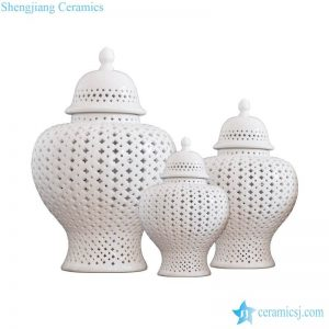 RYZS53-A Cream white color club lattice design ceramic set of 3 jars