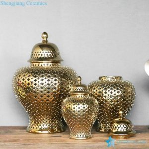 RYZS53-B Golden color metal design ceramic lattice 3 sizes jars for interior design