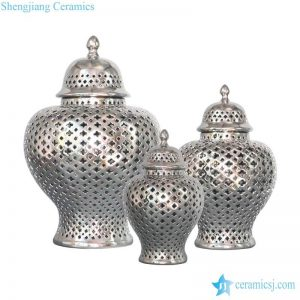 RYZS53-C Metal style silver glaze Northern European ceramic lattice jar