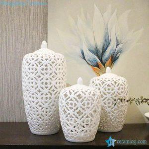 RYZS54-JDJHKJ017 Set of 3 space latice ivory style ceramic jar