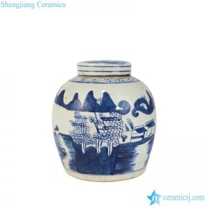 RZFZ01-I Blue and white flat lid forest pattern sundry medium size ceramic jar