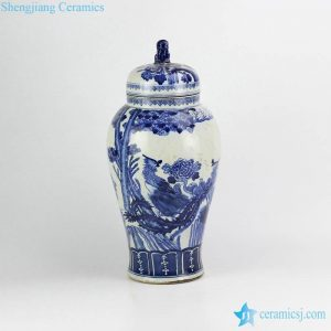 RZHM03 Couple of phoenix pattern hand painted cobalt blue ceramic pot with lion top