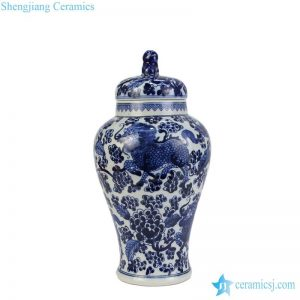 RZHM08 Sea weed with China monster pattern porcelain antique jar with lion lid