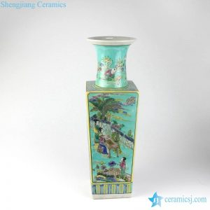 RZJH04-B Famille rose teal background Qing Dynasty style ancient court people life pattern square ceramic vase