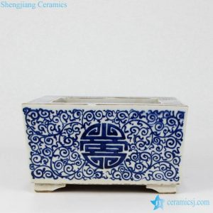 RZKS09 China good wish long life Chinese letter pattern hand painted antique rectangular ceramic nursery pot