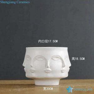 RZLK25-D Post modernity matte white glaze ceramic face vase