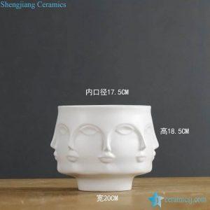 RZLK25-D Post modernity matte white glaze ceramic face vase