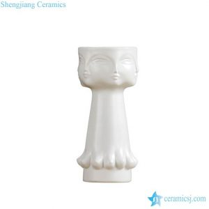 RZLK25-c Milk white surface porcelain human face vase
