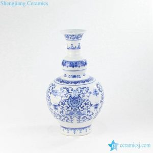 RYCI56 Double fish pattern blue and white ceramic royal vase