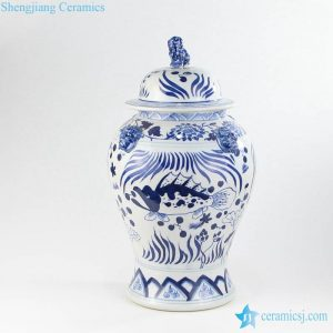 RYLU147 Cobalt blue hand drawing Ming dynasty ceramic jar with lion knob