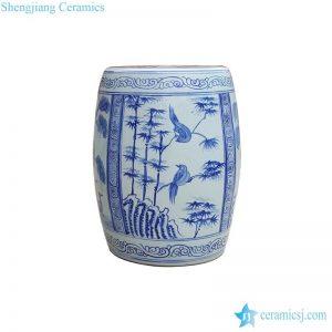 RYNQ245 Pure hand painted bamboo bird pattern ceramic patio seat