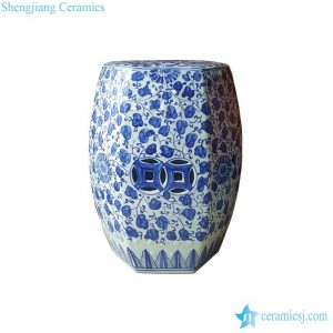 RYNQ246 6 sides pure hand painted garden ceramic stool