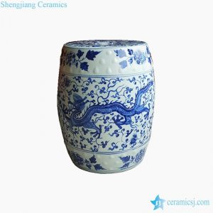 RYNQ247 Hand painted dragon floral ceramic table end