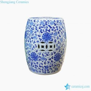 RYNQ250 Lotus flower interlock branches pattern ceramic seat
