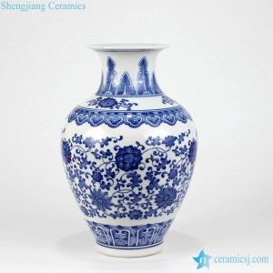 RZKD03 Blue and white foliate pattern large belly china vase
