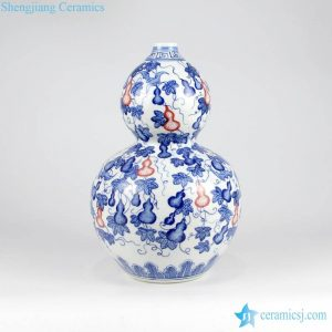 RZKD05 Red and blue calabash pattern hand drawing ceramic China vase