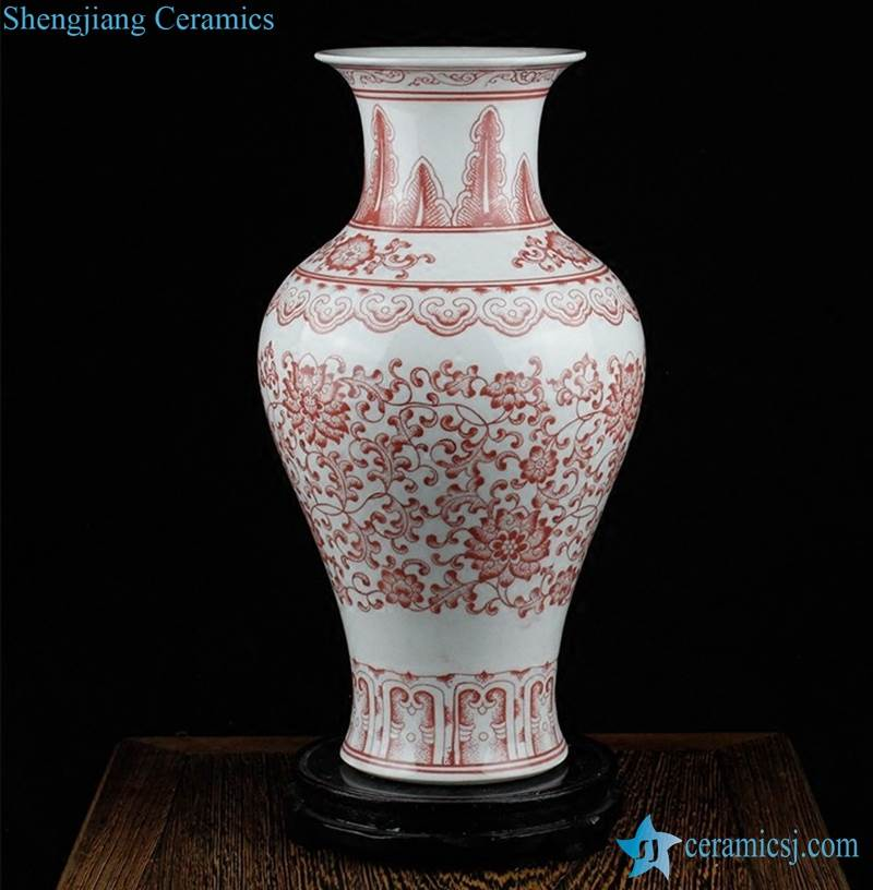 RZKD02-11 Red and white foliate pattern ceramic home decor vase