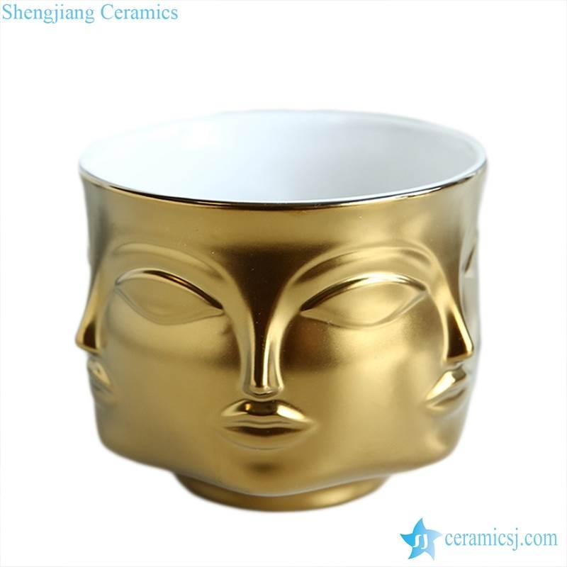 gold clay vase