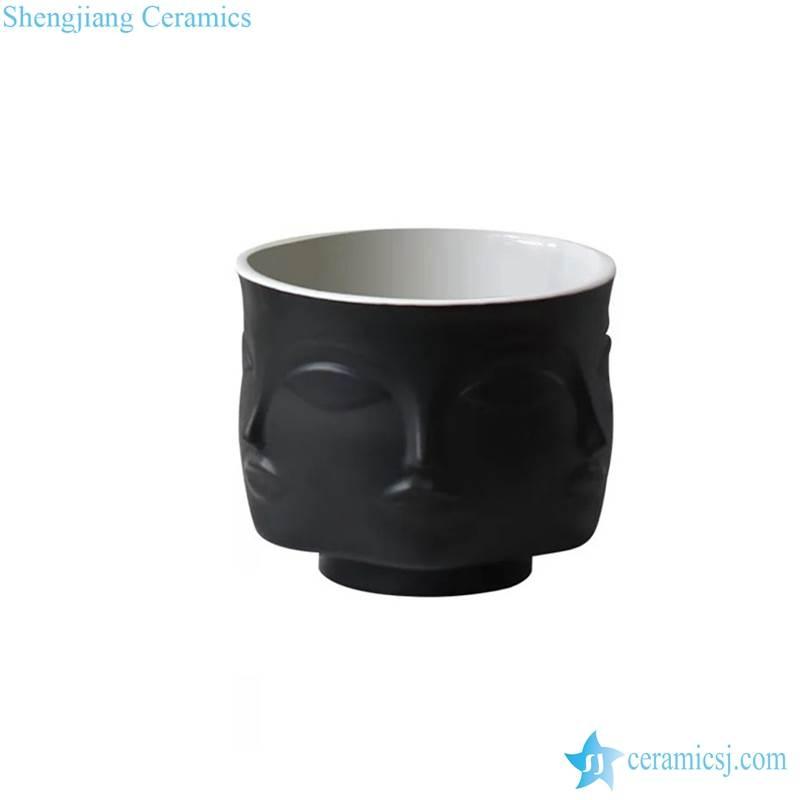 RZLK25-D-AB Matte surface plain gold and black modern interior design ceramic vases