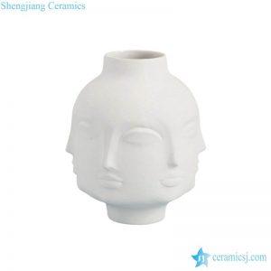 RZLK25-E Plaster style matte milk white color ceramic human head vase