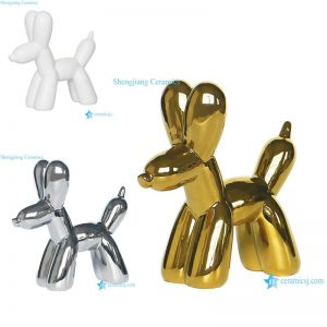 RZLK27-ABC White silver gold color amusement park bubble dog design ceramic figurines