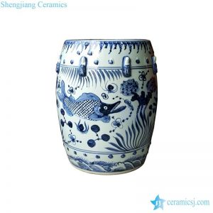 RZMo01-A Ming dynasty reproduction artisan hand drawing mandarin fish ceramic stool