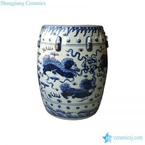 RZMo01-C Blue pigment lions playing silk ball pattern porcelain barrel seat