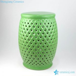 RYIR125 Bright green color grids design ceramic stool