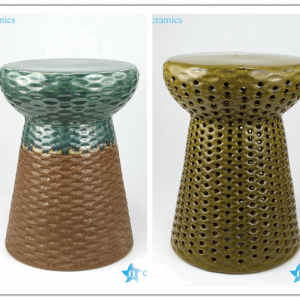 RYIR127/128 Mushroom design rattan plaited design ceramic bar stool