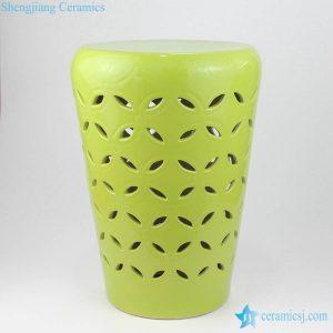 RYIR129 Mint green plain color rice hole porcelain stool