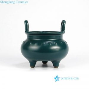 RYPM47 Dark green matte luster design China Warring Statues period reproduction ceramic censer