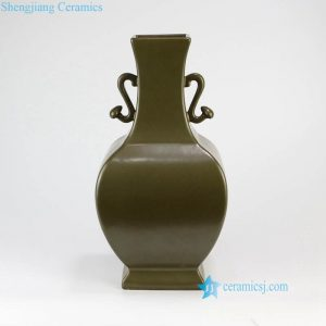 RYPM51 Four sides army green ceramic vase