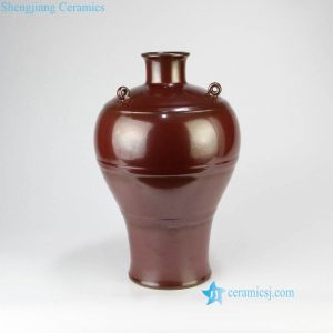RYPM52 Rust red glaze hanging on wall porcelain vase