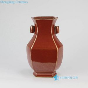 RYPM54 Rust red color six sides ceramic China traditional vase with two ears