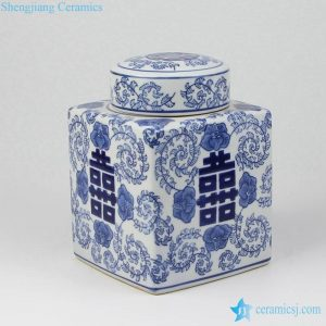 RYPU44 Blue and white box shape double happy ceramic jar