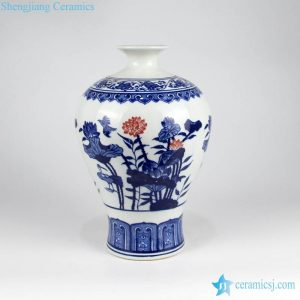 RZKD07 Red lotus pattern cobalt blue porcelain interior decor vase