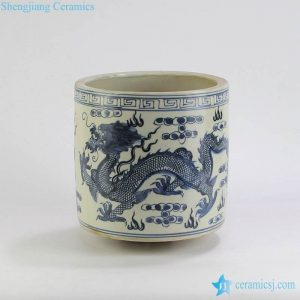 RZKT03 Antique style mud feeling blue and white dragon porcelain brush holder