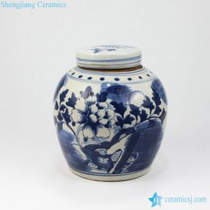 RZKT04-B Peony flower watermelon shape ceramic sundries jar