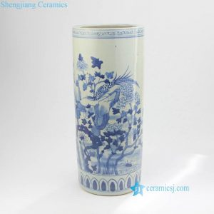 RZKT08 Tall cylinder blue and white bird flower pattern porcelain vase
