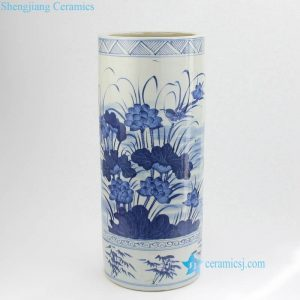 RZKT09 Blue and white hand painted lotus kingfisher bamboo pattern porcelain umbrella stand