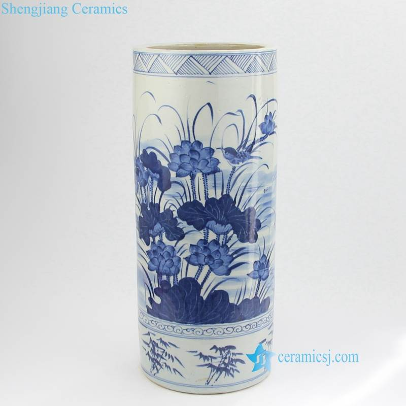 lotus bamboo kingfisher pattern vase