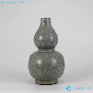 RZMQ01 Dark grey crackle glaze Ge kiln gourd shape porcelain vase