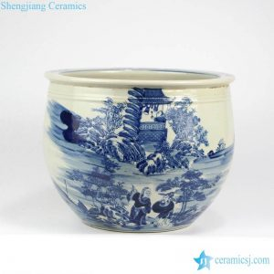 RZMW01 Ancient China people life pattern ceramic bonsai pot
