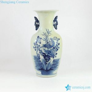 RZMW03-B Double handles blue and white hand painted pheasant porcelain flower vase