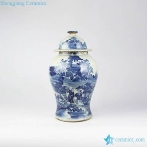 RZMW04-B Old fashion style blue and white Jingdezhen workers painted ancient China jar