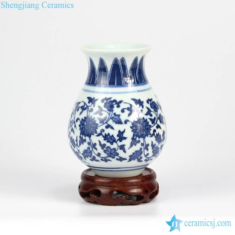 Rzmx01 Cute Blue And White Ceramic Floral Vase Jingdezhen