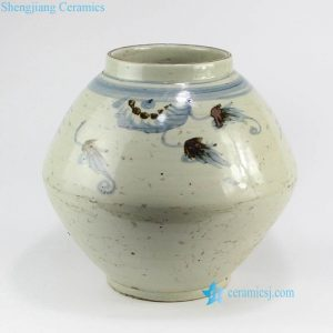 RZNA02 Ming Dynasty reproduction China blue and white old clay body style pottery pot