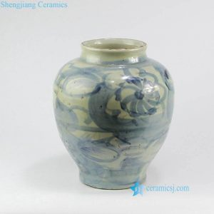 RZNA06 Light blue color China brush drawing ceramic urn