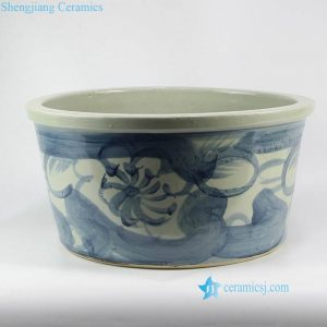 RZNA07 Cobalt blue antique brush pattern porcelain pot